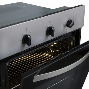 SIA 60cm Single True Fan Oven, 4 Burner Gas Hob And Curved Glass Cooker Hood Fan