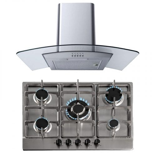 SIA 70cm Stainless Steel Gas Hob & 60cm Curved Glass Chimney Cooker Hood Fan