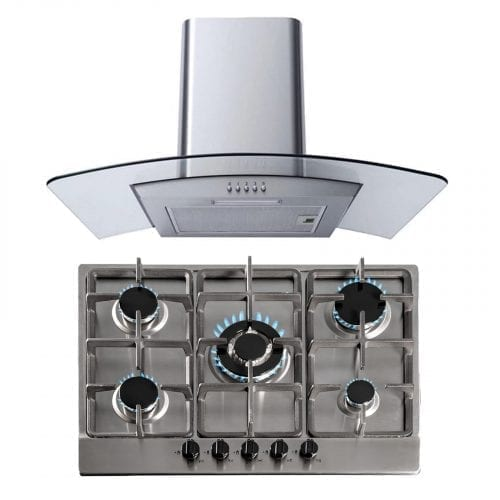 SIA 70cm Stainless Steel Gas Hob & Curved Glass Kitchen Chimney Cooker Hood Fan