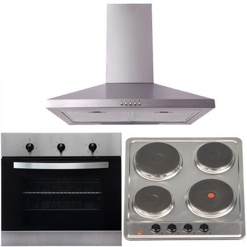 SIA 60cm True Fan Electric Single Oven, 4 Zone Hob & Chimney Cooker Hood Fan