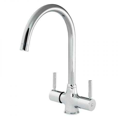 Reginox Thames Chrome Twin Lever Kitchen Sink Mixer Tap With 360 Swivel Spout