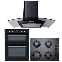 SIA 60cm Black Built In Electric Double Oven, Gas Hob & Curved Glass Cooker Hood