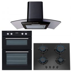 SIA 60cm Black Built In Double Oven, Gas on Glass Hob & Curved Glass Cooker Hood