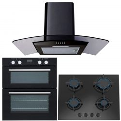 SIA 60cm Black Electric Double Oven, Gas on Glass Hob & Curved Glass Cooker Hood