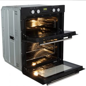 SIA 60cm Black Built-under Double Oven, Gas Glass Hob & Curved Glass Cooker Hood