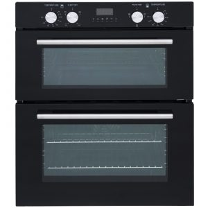 SIA 60cm Black Electric Double Oven, 4 Burner Gas Hob & Curved Glass Cooker Hood