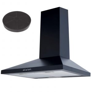 SIA CHL60BL 60cm Chimney Cooker Hood Extractor Fan In Black and Carbon Filter