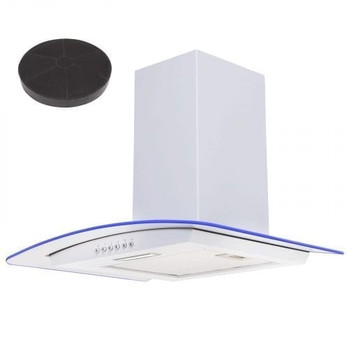SIA CPLE60WH 60cm White LED Edge Curved Glass Cooker Hood Fan And 1m Ducting Kit