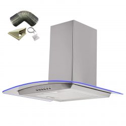 SIA 70cm Stainless Steel 3 Colour LED Curved Glass Cooker Hood & 1m Ducting Kit