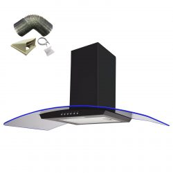 SIA 90cm Black 3 Colour LED Edge Lit Curved Glass Cooker Hood And 1m Ducting Kit