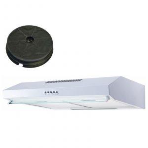 SIA VSR60WH 60cm White Visor Cooker Hood Kitchen Extractor Fan & 1m Ducting Kit