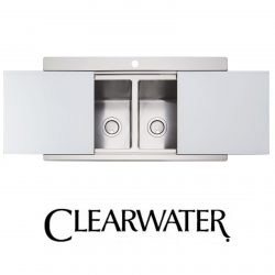 Clearwater Glacier 2.0 Bowl Stainless Steel Sink & Silver Glass Chopping Boards