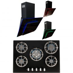 SIA 70cm Black 5 Burner Gas On Glass Hob & Multi Colour LED Angled Cooker Hood