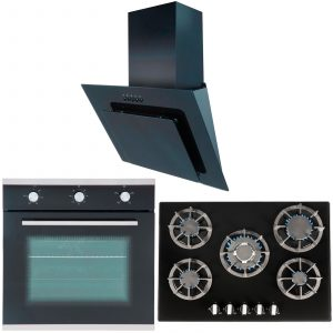 SIA 60CM Single Electric Oven, 70cm Black Gas Hob & Angled Glass Cooker Hood