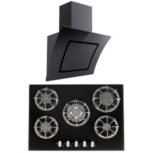 SIA 70cm Black 5 Burner Gas On Glass Hob & Angled Curved Glass Cooker Hood Fan