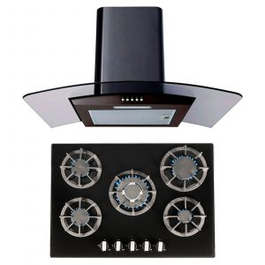 SIA 70cm Black 5 Burner Gas On Glass Hob & 70cm Curved Glass LED Cooker Hood Fan