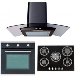 SIA 60cm Single Electric Oven, 70cm Black Glass Gas Hob And Curved Cooker Hood