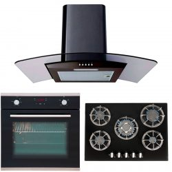SIA 60cm Black Single Electric Oven, 70cm Glass Gas Hob And Curved Cooker Hood
