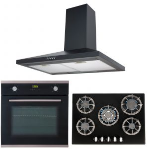 SIA 60cm Black Single Electric Oven, Glass 70cm Gas Hob And Chimney Cooker Hood
