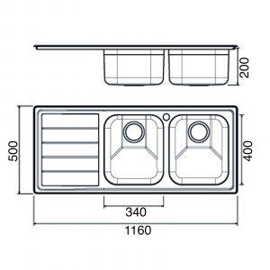 Clearwater LIP200L Linear Plus Elegant 2.0 Bowl Stainless Steel Kitchen Sink