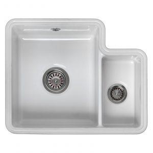 Reginox Tuscany 1.5 Bowl White Gloss Ceramic Undermount Kitchen Sink & Waste