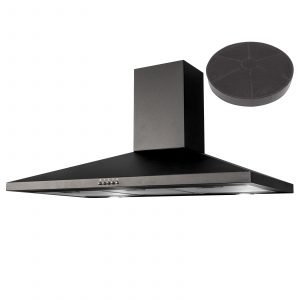 SIA CHL100BL 100cm Pyramid Chimney Cooker Hood Kitchen Extractor Fan In Black