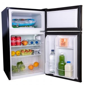 SIA UFF01BL 93L Black Freestanding Under Counter 2 Door Fridge Freezer A+ Energy