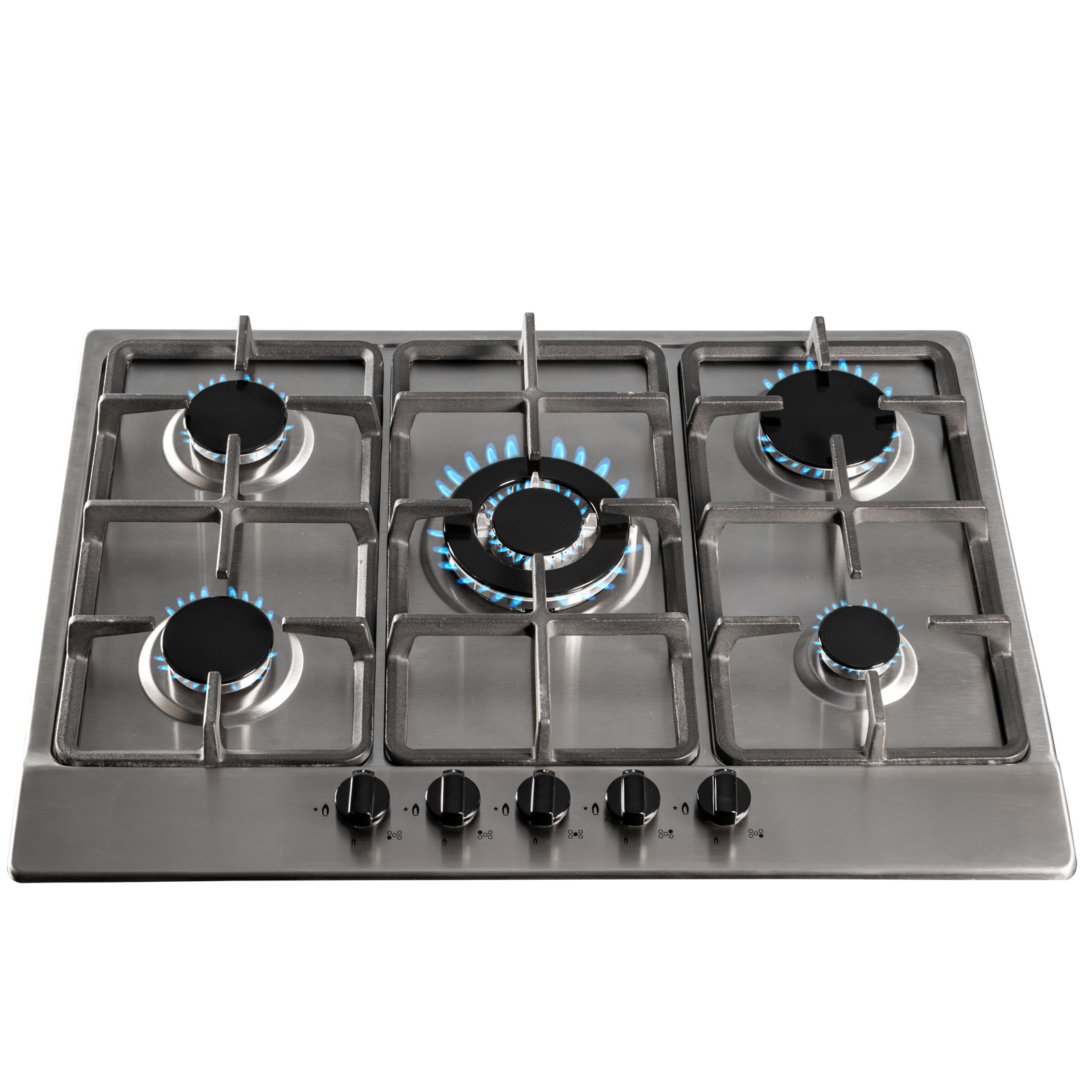 7146ad0d03c SIA SSG701SS 70cm Stainless Steel 5 Burner Gas Hob With Cast Iron Pan  Stands at Ship It Appliances