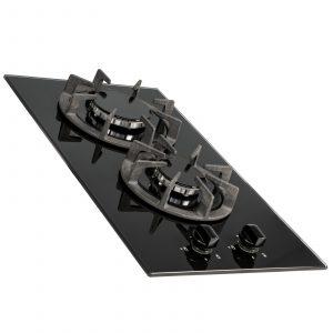 SIA BGH30BL 30cm Black Gas On Glass Domino Hob   Cast Iron Pan Support   LPG Kit