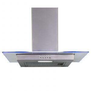 SIA 60cm Stainless Steel Flat Glass 3 Colour LED Edge Cooker Hood Extractor Fan