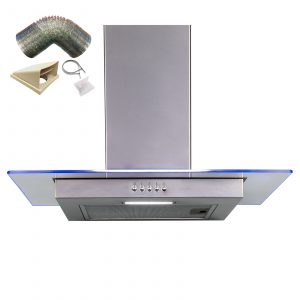 SIA 60cm Stainless Steel Flat Glass 3 Colour LED Cooker Hood And 1m Ducting Kit