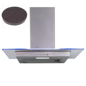 SIA 60cm Stainless Steel Flat Glass 3 Colour LED Cooker Hood And Carbon Filter