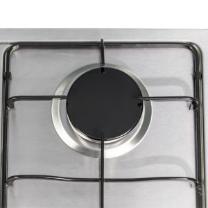 SIA 60cm Stainless Steel Gas 4 Burner Hob & Curved Glass Chimney Cooker Hood Fan
