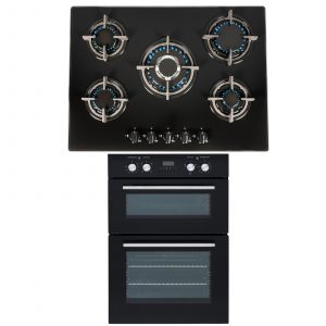 SIA 60cm Built In Double Electric Oven & Black 70cm 5 Burner Gas On Glass Hob