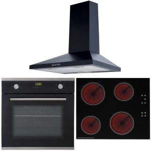 SIA 60cm Single Electric Oven, 4 Zone Touch Control Ceramic Hob And Chimney Hood