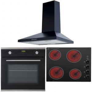 SIA 60cm Electric Single Fan Oven, 4 Zone Ceramic Electric Hob And Cooker Hood