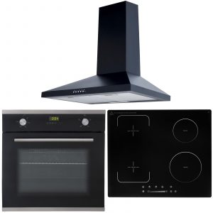 SIA 60cm Single True Fan Oven, 4 Zone Flexi-Bridge Induction Hob And Cooker Hood