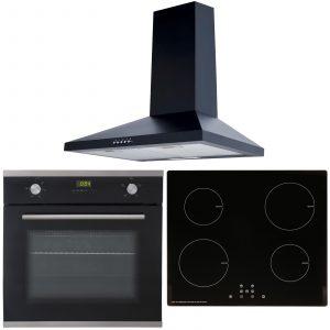 SIA 60cm Black Single Fan Oven, ECO 13 Amp 4 Zone Induction Hob & Cooker Hood