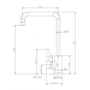 Reginox Acri Copper Single Lever U-Shaped Monobloc Kitchen Sink Mixer Tap