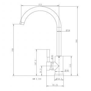Reginox Clara Copper Single Lever Swan Neck Monobloc Kitchen Sink Mixer Tap