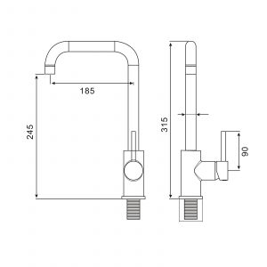 Reginox Oxford B Single Lever Black Monobloc U-shape Kitchen Sink Mixer Tap
