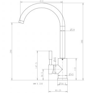 Reginox Malvern Brushed Steel Swan Neck Single Lever Kitchen Sink Mixer Tap