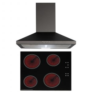 SIA 60cm Black 4 Zone Touch Control Ceramic Hob And Pyramid Chimney Cooker Hood