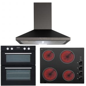 SIA 60cm Electric Double Fan Oven, 4 Zone Ceramic Electric Hob And Cooker Hood