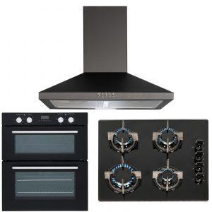 SIA 60cm Black Double True Fan Oven, 4 Burner Gas On Glass Hob & Cooker Hood Fan