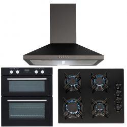 SIA 60cm Black Electric Double Fan Oven, 4 Burner Gas On Glass Hob & Cooker Hood