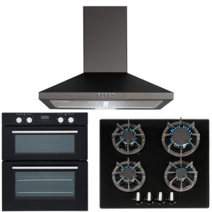 SIA 60cm Double Electric True Fan Oven, 4 Burner Gas Hob And Pyramid Cooker Hood