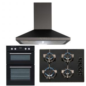SIA 60cm Black Double Electric Oven, 4 Burner Gas On Glass Hob & Cooker Hood Fan