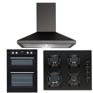 SIA 60cm Black Double Electric Fan Oven, 4 Burner Gas On Glass Hob & Cooker Hood