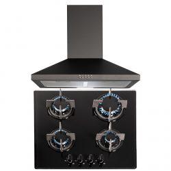 SIA 60cm Black 4 Burner Gas On Glass Hob & Chimney Cooker Hood Extractor Fan